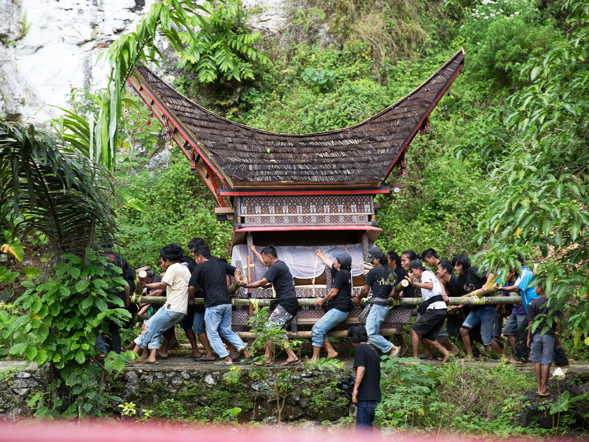 Toraja, Indonesia: Men carry the coffin of Deborah Bura Sampetoding to its cliff-side burial... [Photo of the day - July 2017]
