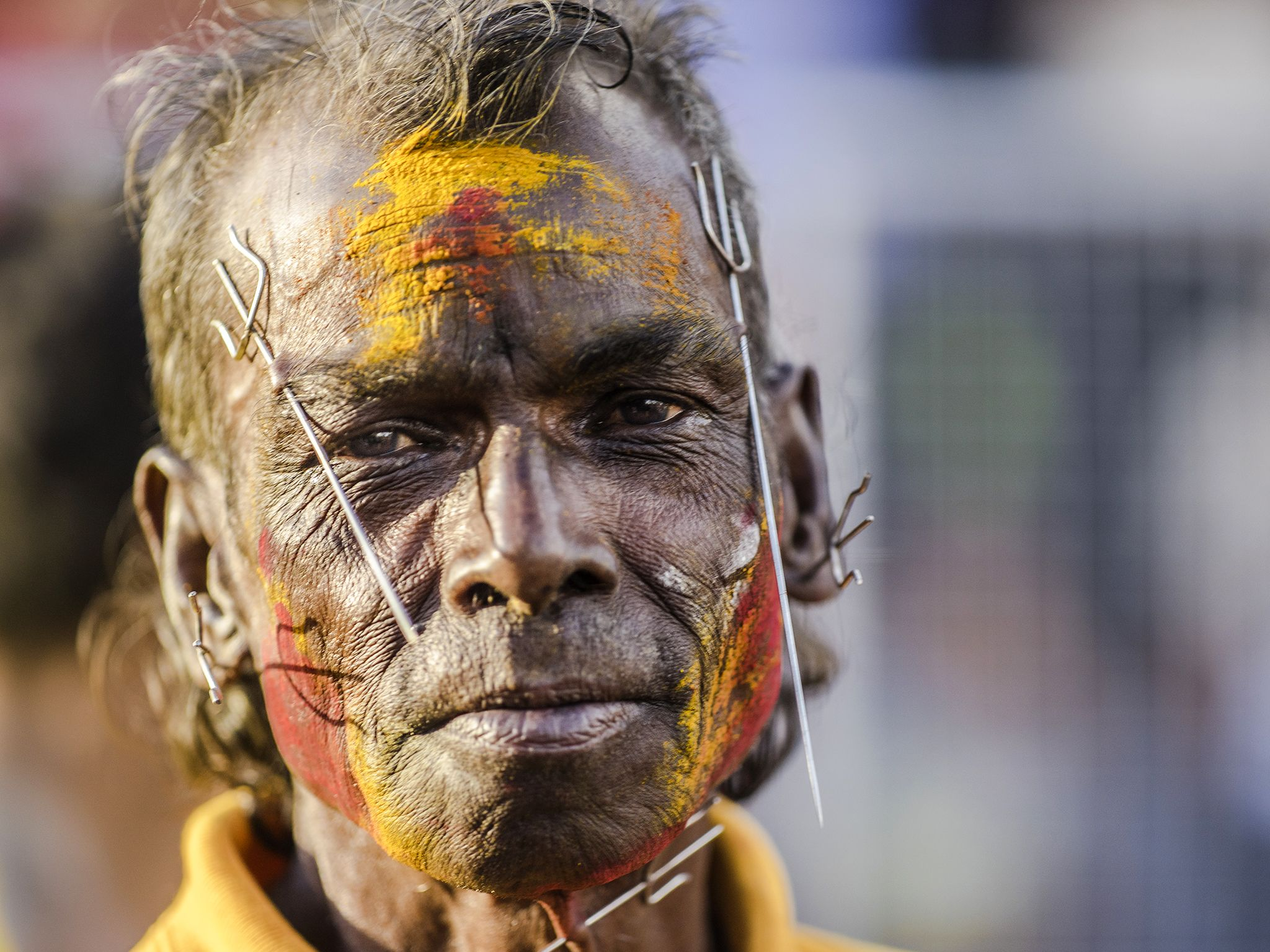 Suva, Fiji: A pierced devotee at Sangam Temple. This image is from My Pacific Quest. [Photo of the day - July 2017]