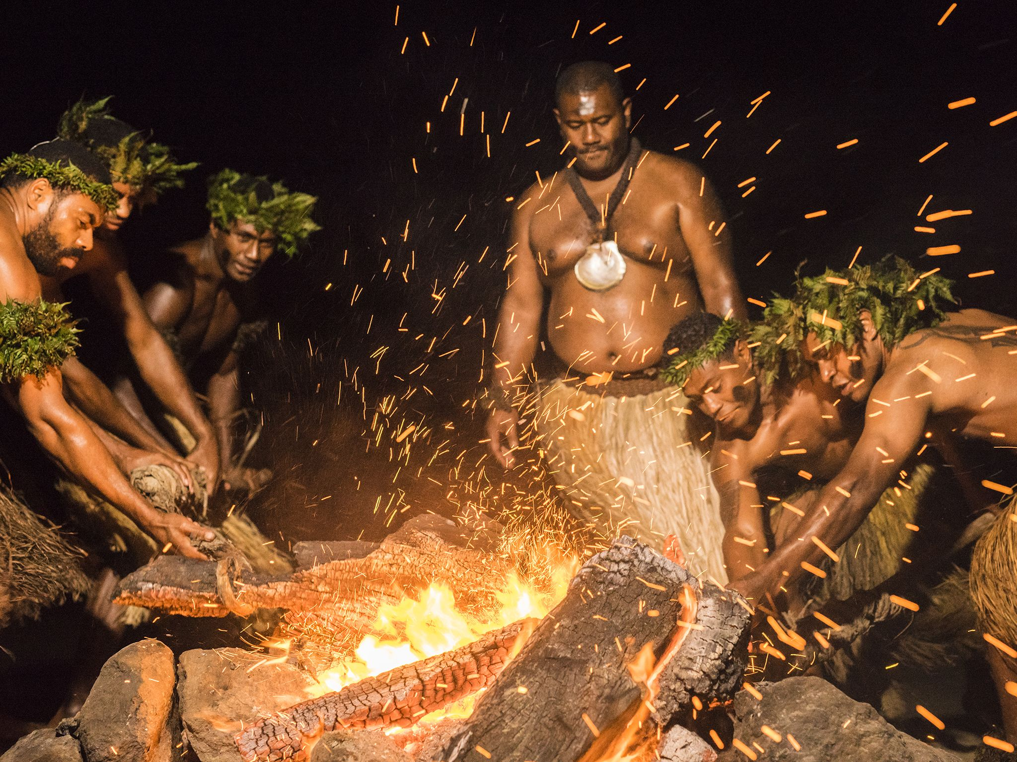 Suva, Fiji: Beqa Fire Walkers prepare hot stones for traditional Beqa Fire Walk. This image is... [Photo of the day - July 2017]