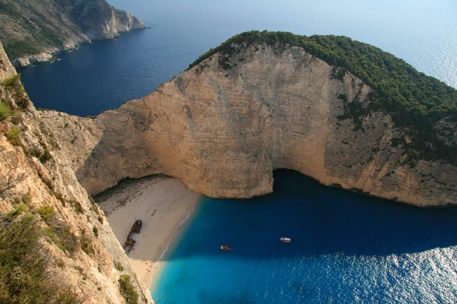The spectacular view of Zakynthos' blue waters and hidden beach at Shipwreck Bay, seen from high... [Photo of the day - March 2012]