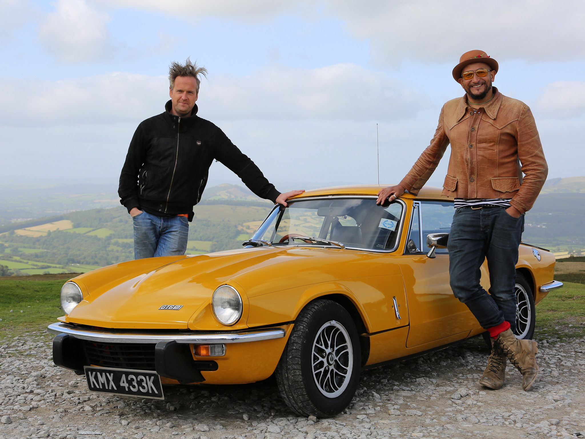 Wales: Tim and Fuzz pose with a pristine example of the Triumph GT6.  This image is from Car S.O.S. [Photo of the day - April 2018]