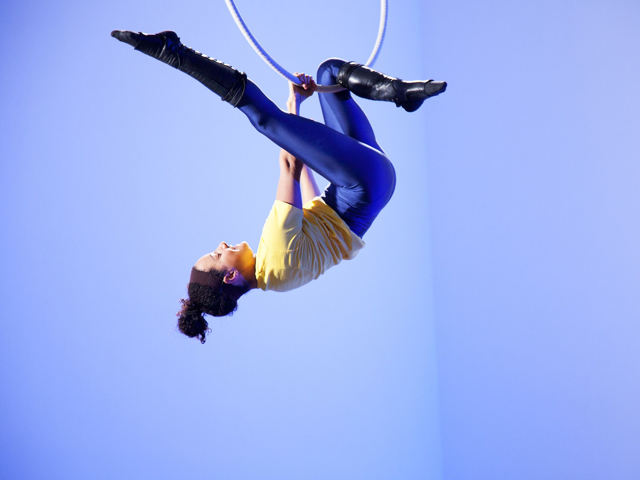 Rosie performing aerial hoop tricks.  This image is from Science of Stupid. [Photo of the day - June 2018]