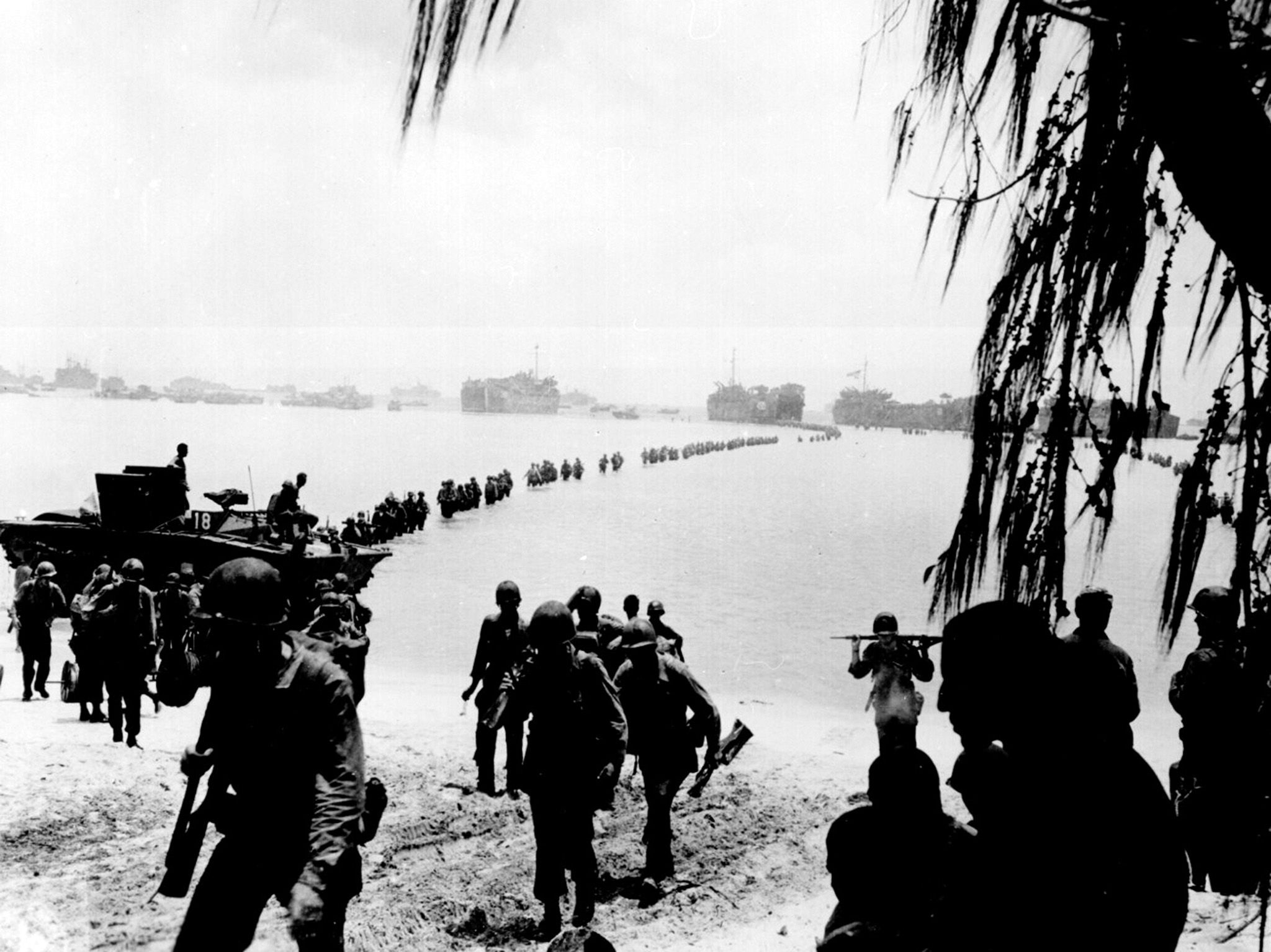 Laudansky, Saipan:  Army reinforcements disembarking from LST's form a graceful curve as... [Foto del giorno - settembre 2018]