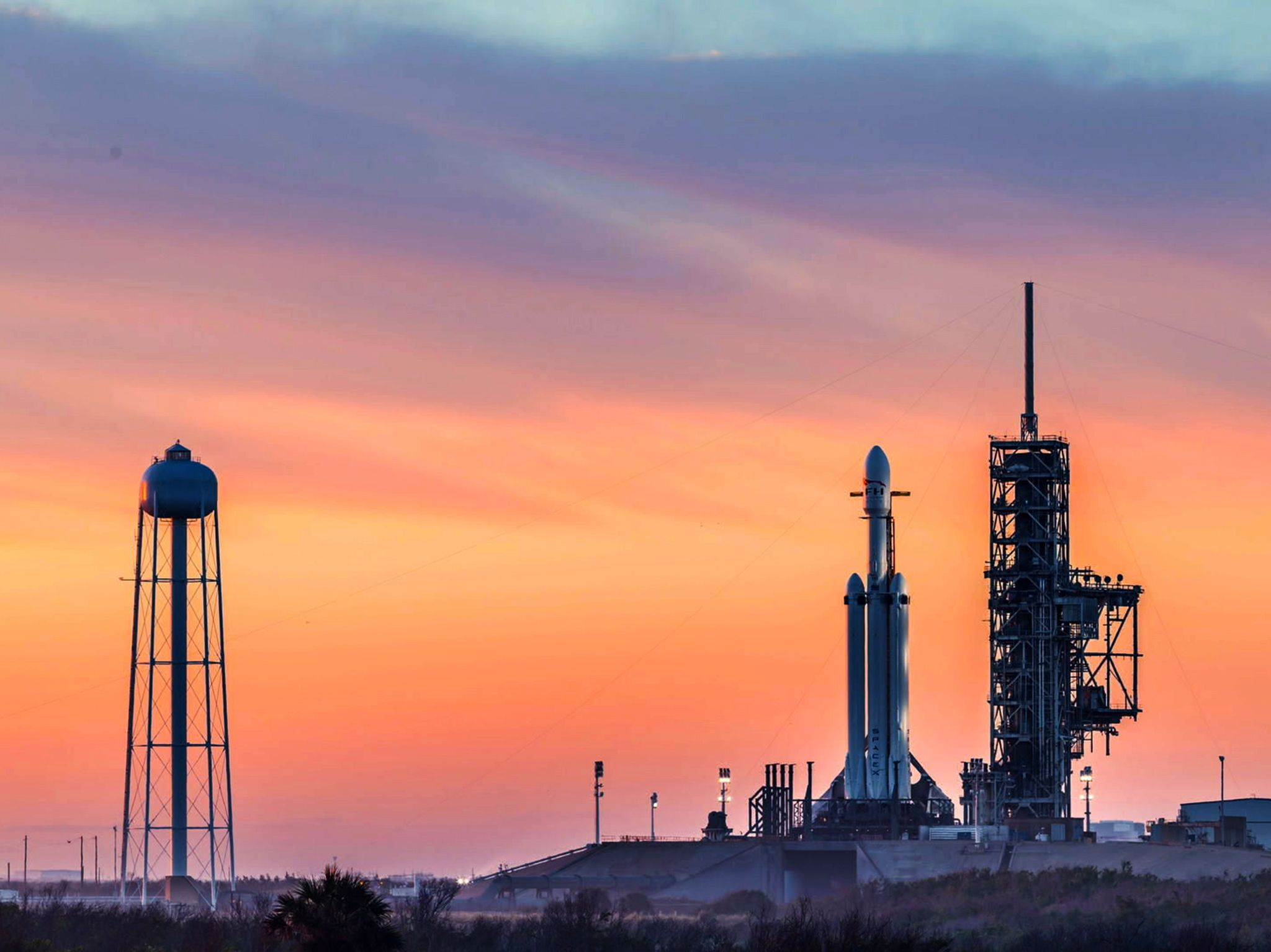 Cape Canaveral, FL: Falcon Heavy at KSC Launchpad 39A on February 6, 2018, the day of its maiden... [Photo of the day - October 2018]