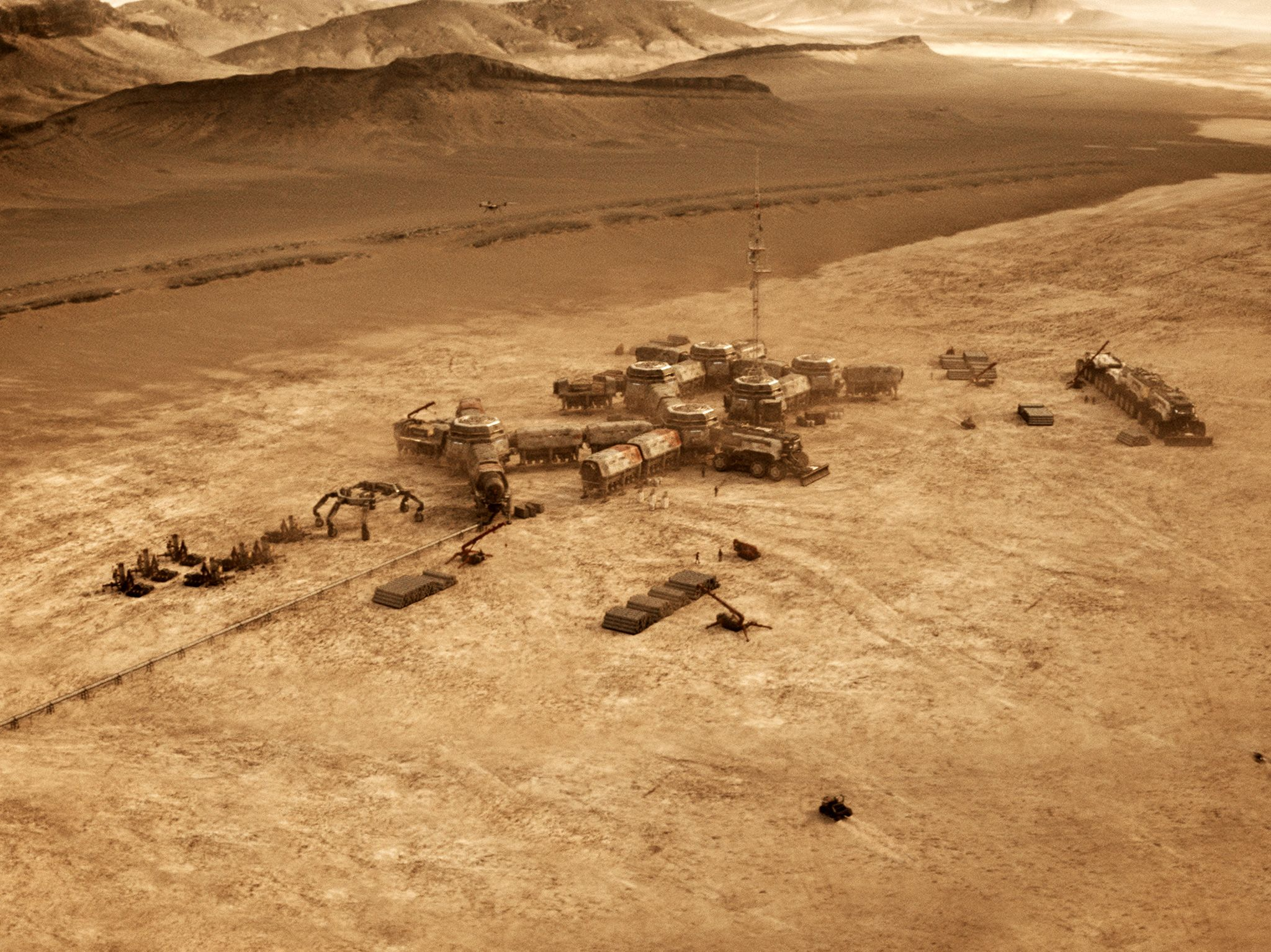 CGI: The whole of Lukrum colony on the Martian surface. This image is from Mars. [Foto del giorno - novembre 2018]