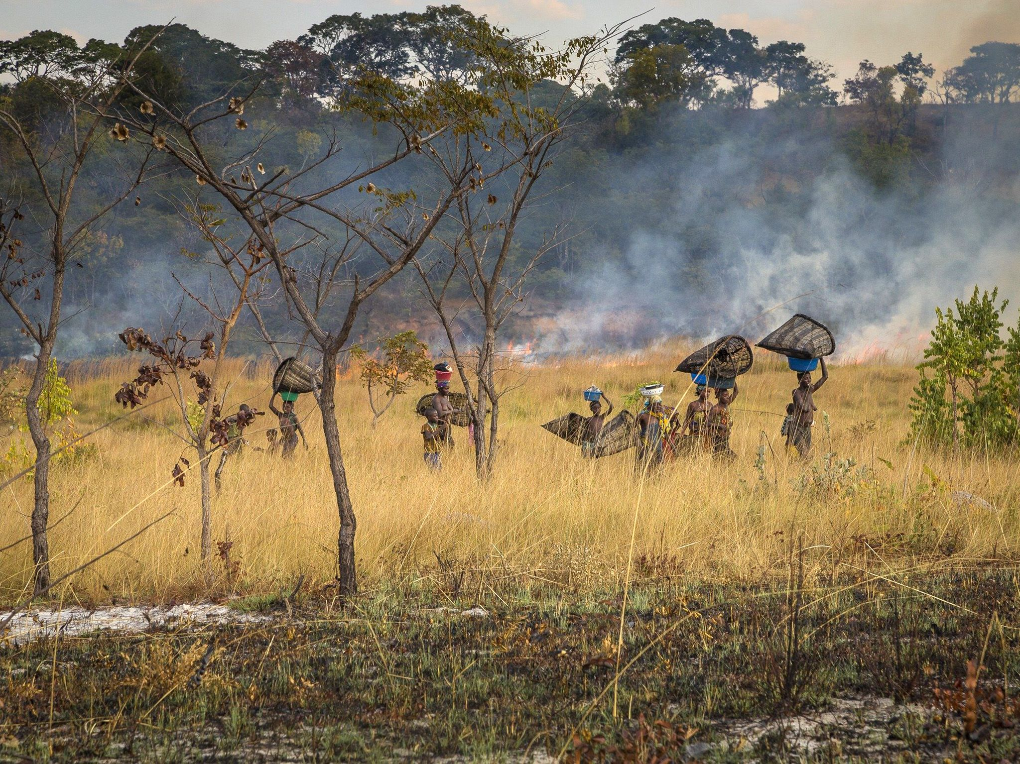 Angola:  A group of Angolan locals carry fishing nets as a bush fire rages on behind them.  ... [Photo of the day - January 2019]