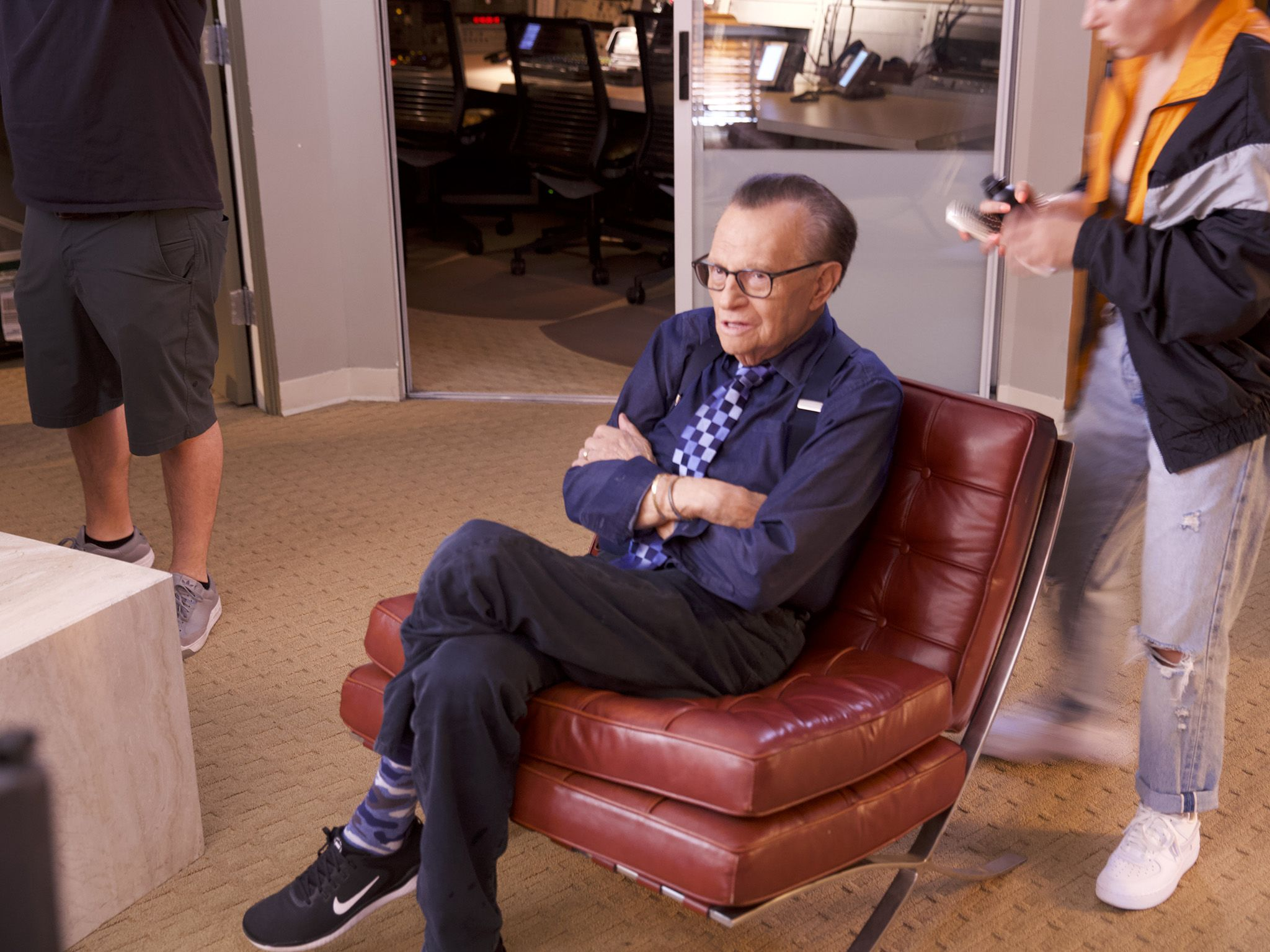 Los Angeles, CA:  Larry King is seated as the crew sets up. Larry King has been a reporter for... [Photo of the day - January 2019]