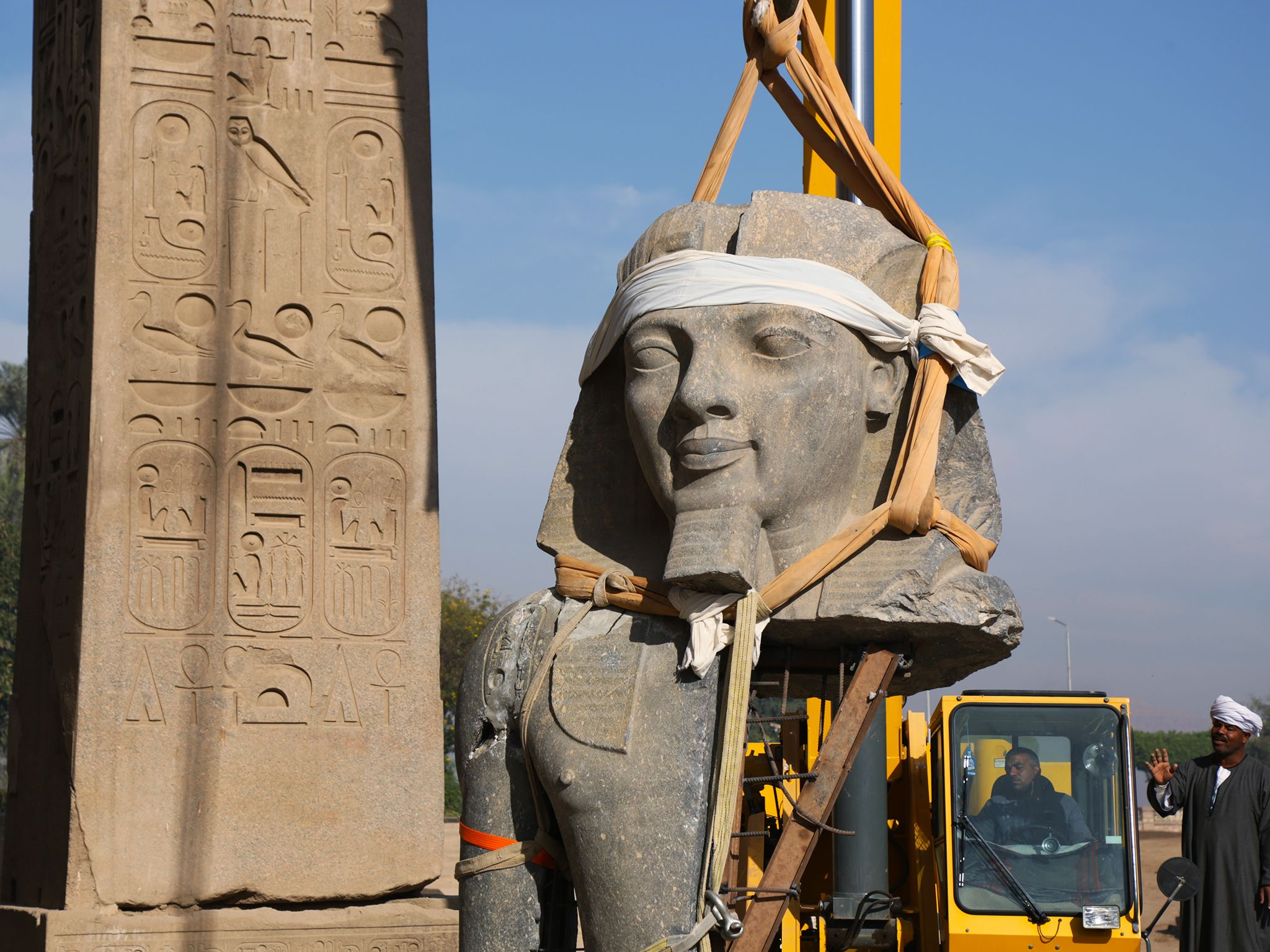 Egypt:  Restoration of a statue of Ramesses at the Luxor Temple.  This image is from Lost... [Photo of the day - March 2019]