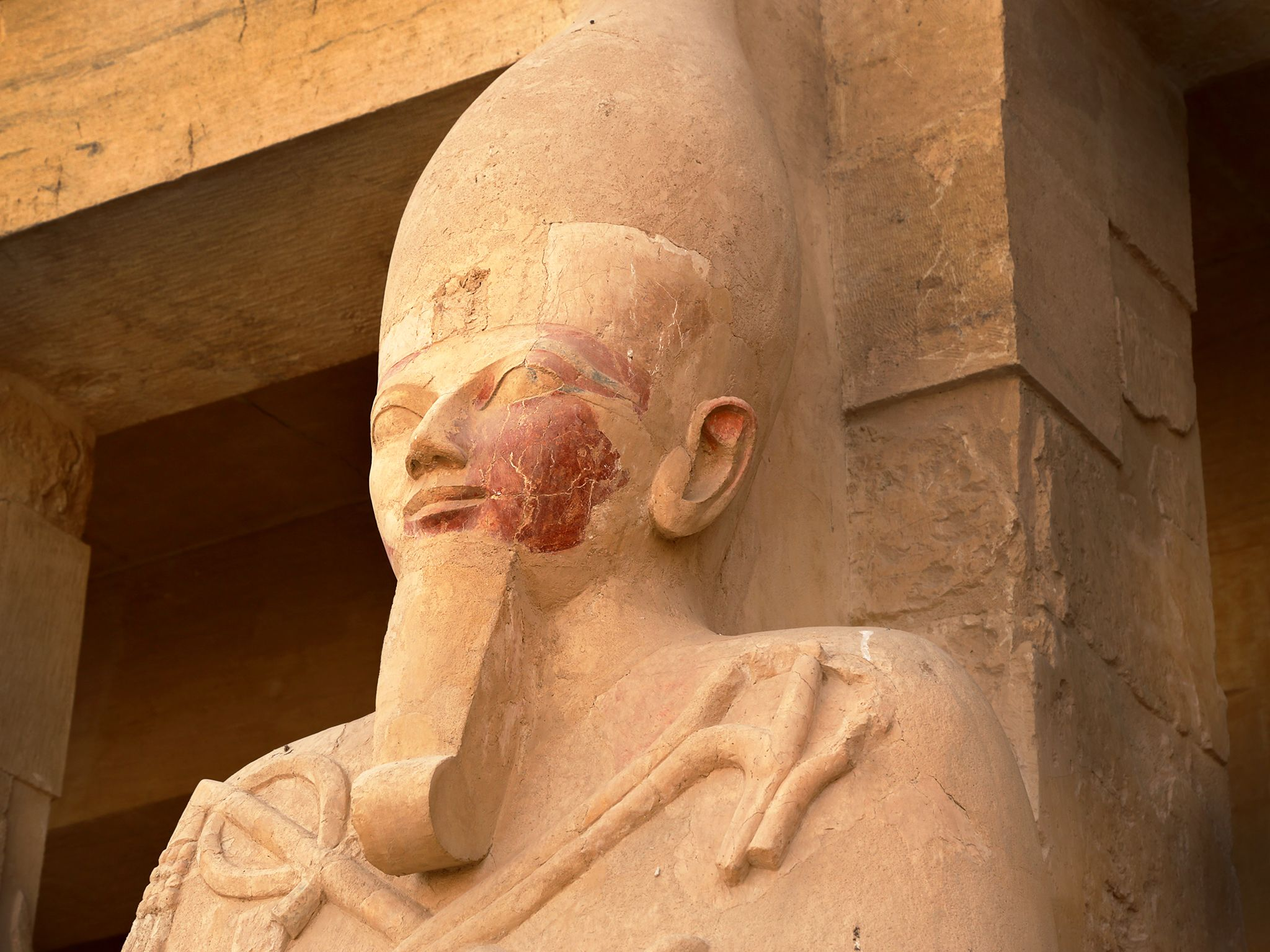 Deir el-Bahri, Egypt:  Osiris statue outside Hatshepsut's Mortuary Temple.  This image is from... [Photo of the day - March 2019]