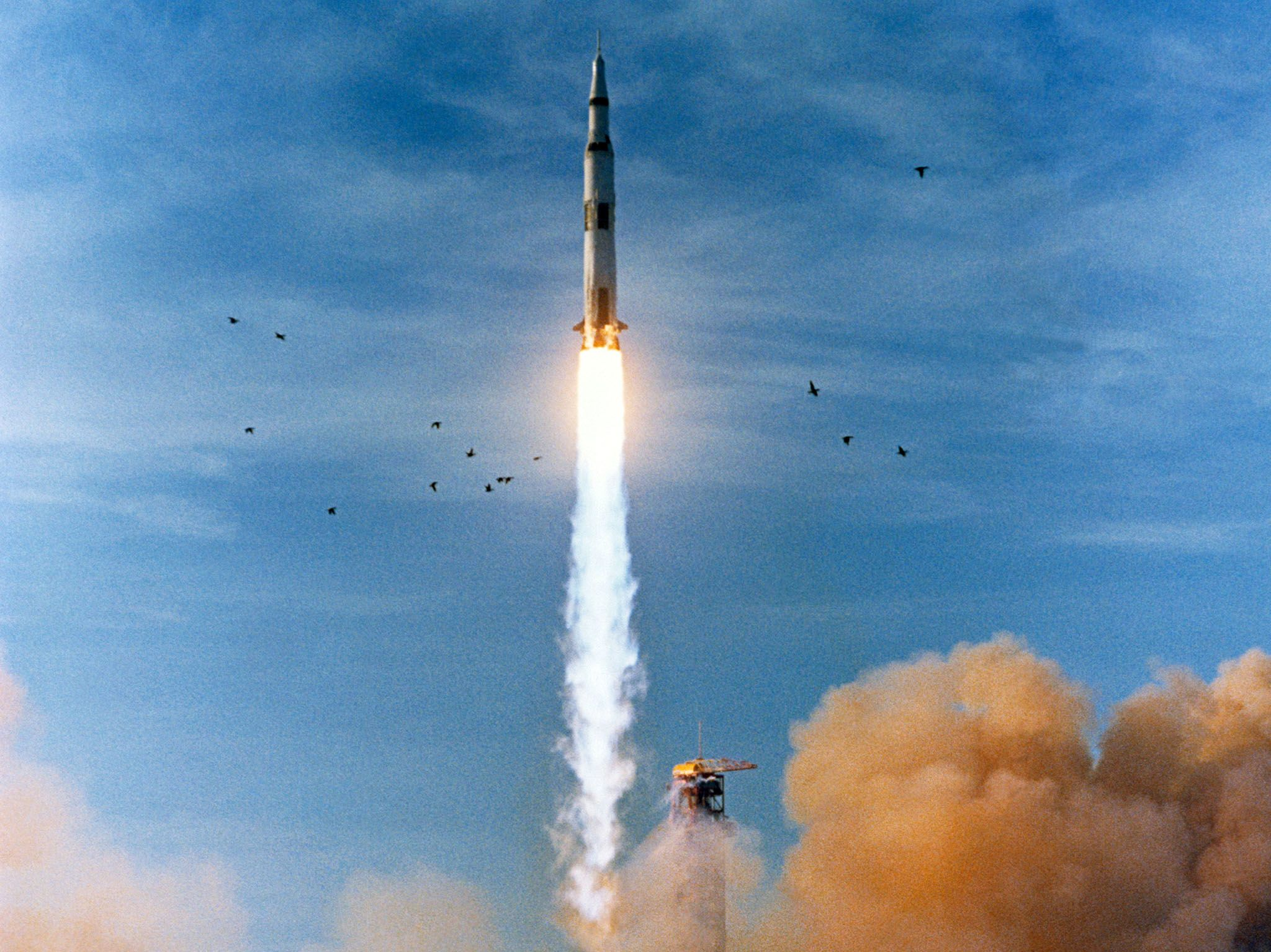 Dec. 21, 1968, Apollo 8 launched from Pad A, Launch Complex 39, Kennedy Space Center at 7:51... [Photo of the day - April 2019]