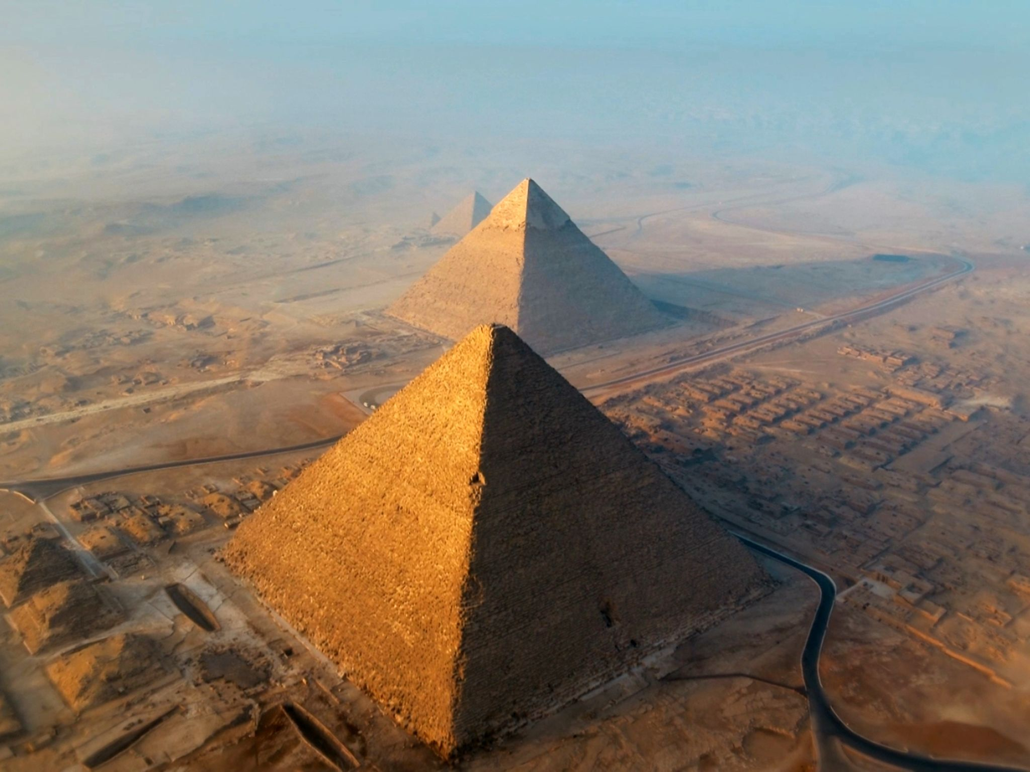 Giza, Egypt:  The Great Pyramids. This image is from Egypt From Above. [Photo of the day - April 2019]