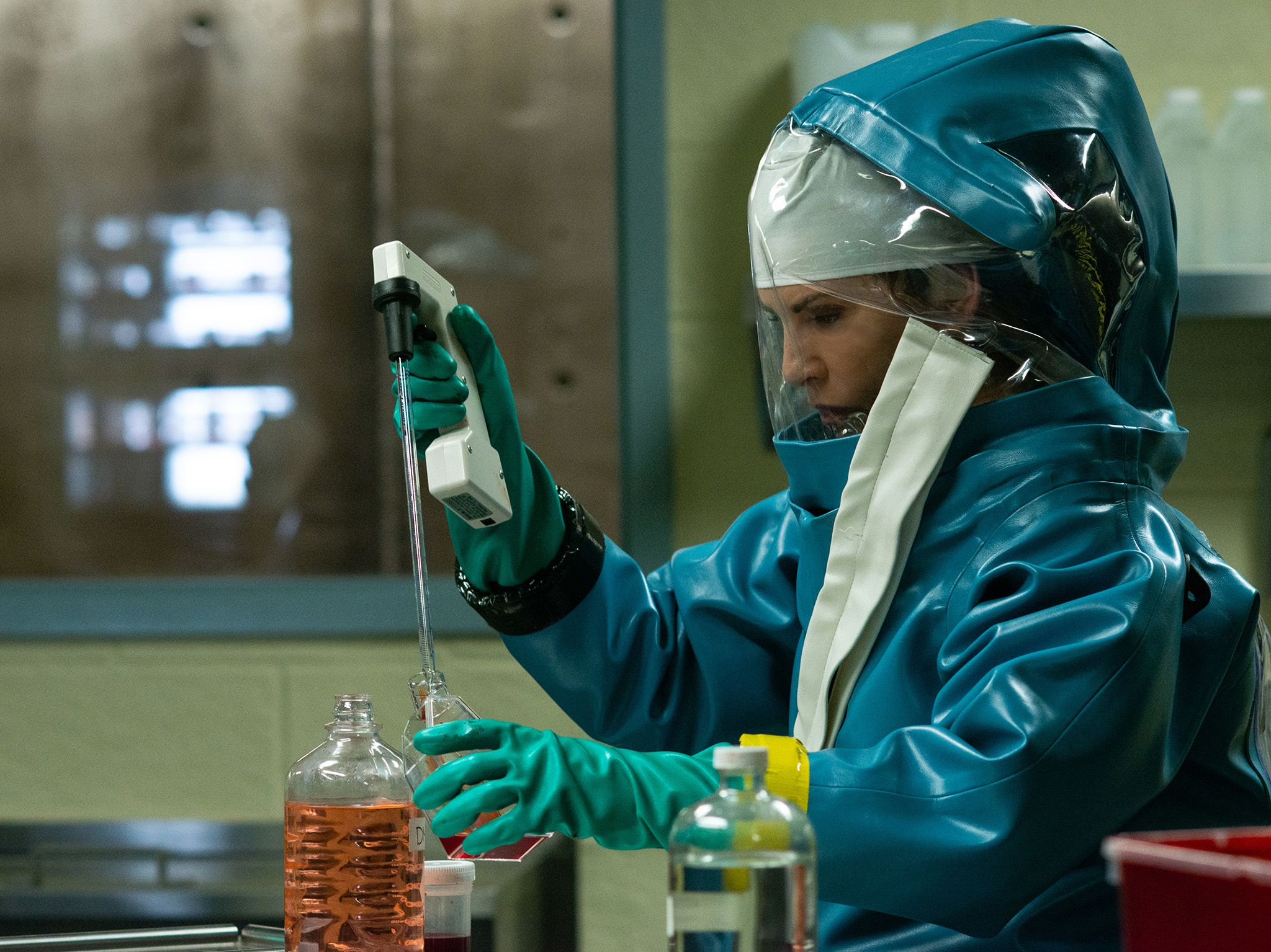 Dr. Nancy Jaax (Julianna Margulies) working in her pathology lab.  This image is from The Hot Zone. [Photo of the day - May 2019]