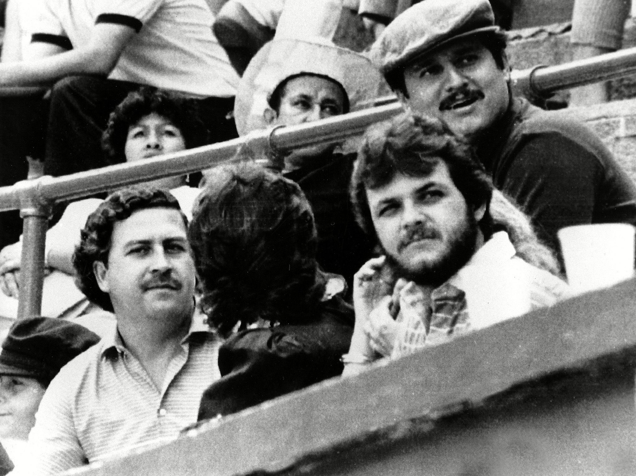 Pablo Escobar, left, and Jorga Luis Ochoa, right with hat, the two leaders of the Medellin... [Photo of the day - می 2019]