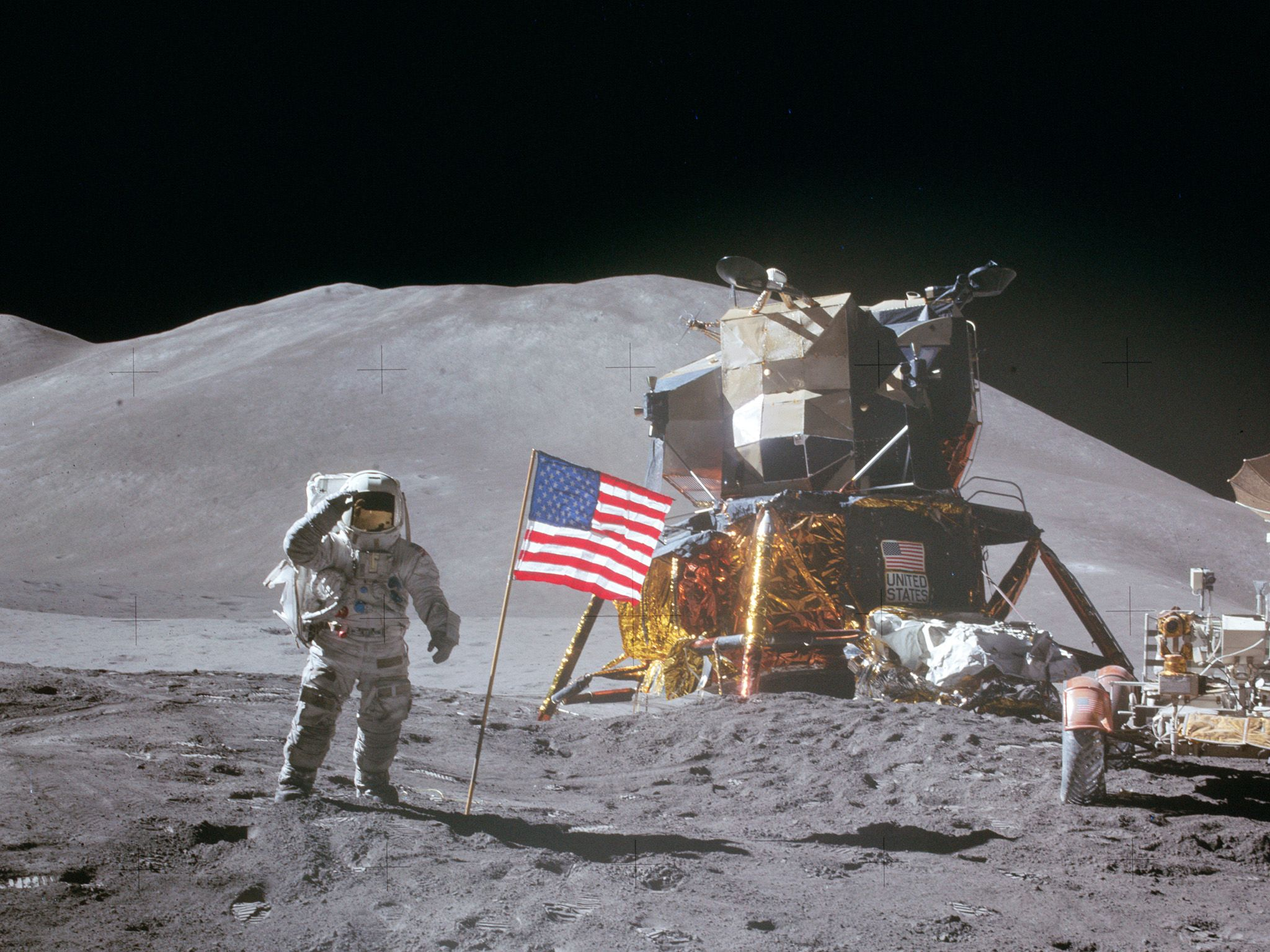 David Scott on Moon during Apollo 15.  This image is from Apollo: Missions to the Moon. [Photo of the day - July 2019]