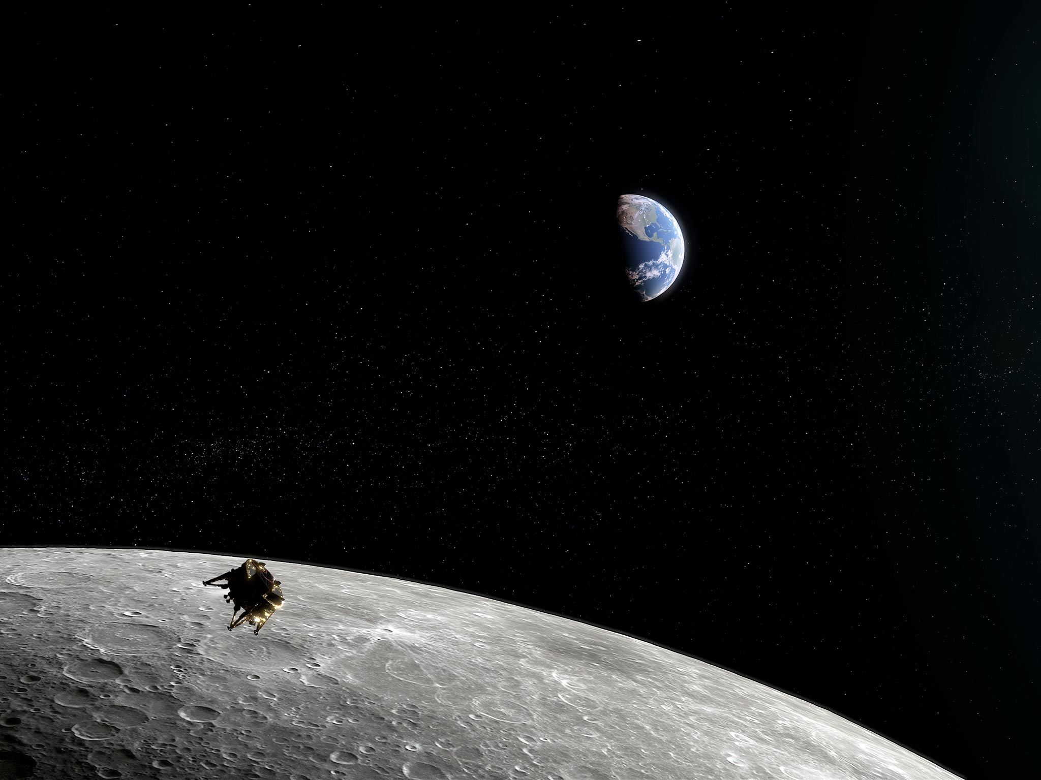 Photoreal of Beresheet in Lunar Orbit, above the moon, Earth in the background.  This image is... [Photo of the day - July 2019]
