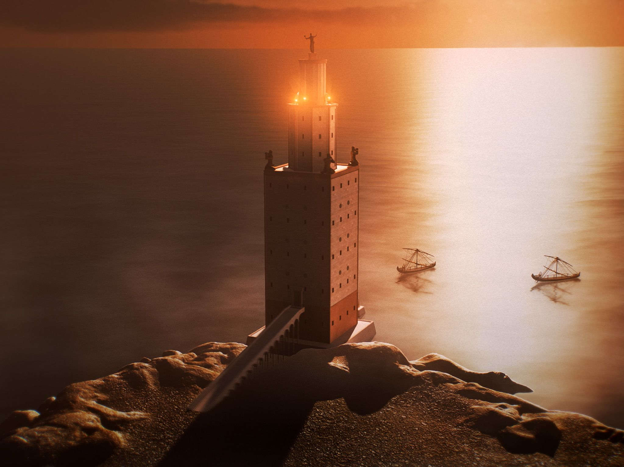 CGI:  A reconstruction of the now lost Pharos Lighthouse, one of the Seven Wonders of the... [Photo of the day - أغسطس 2019]