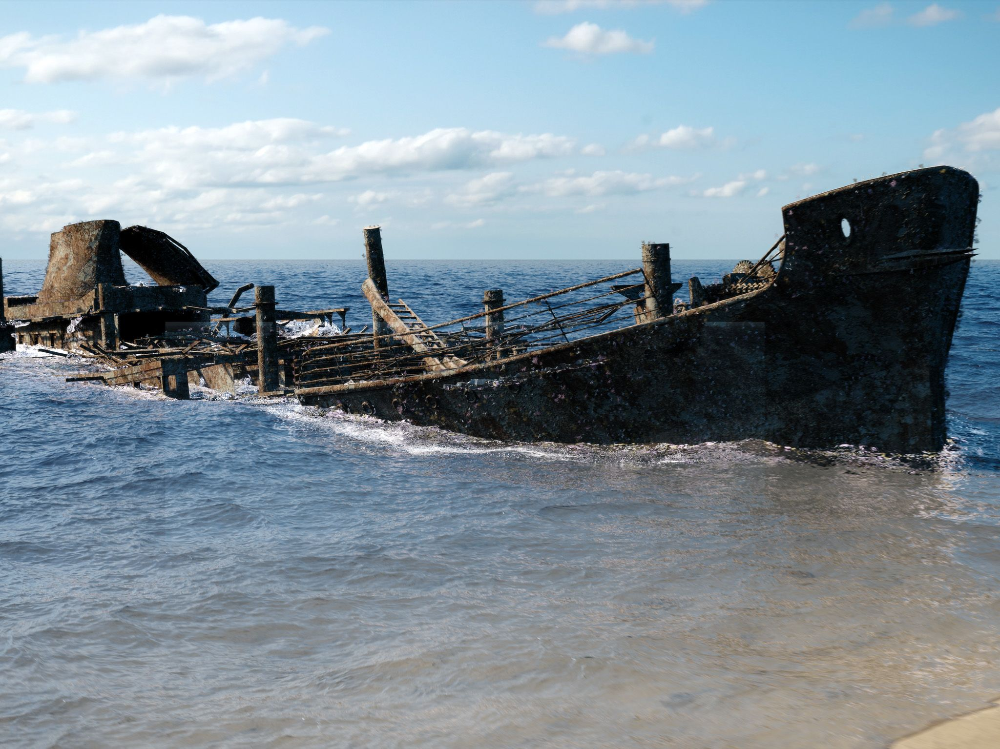 CGI:  The wreck of the Robert E Lee is revealed as the ocean begins to drain away.  This image... [Photo of the day - August 2019]