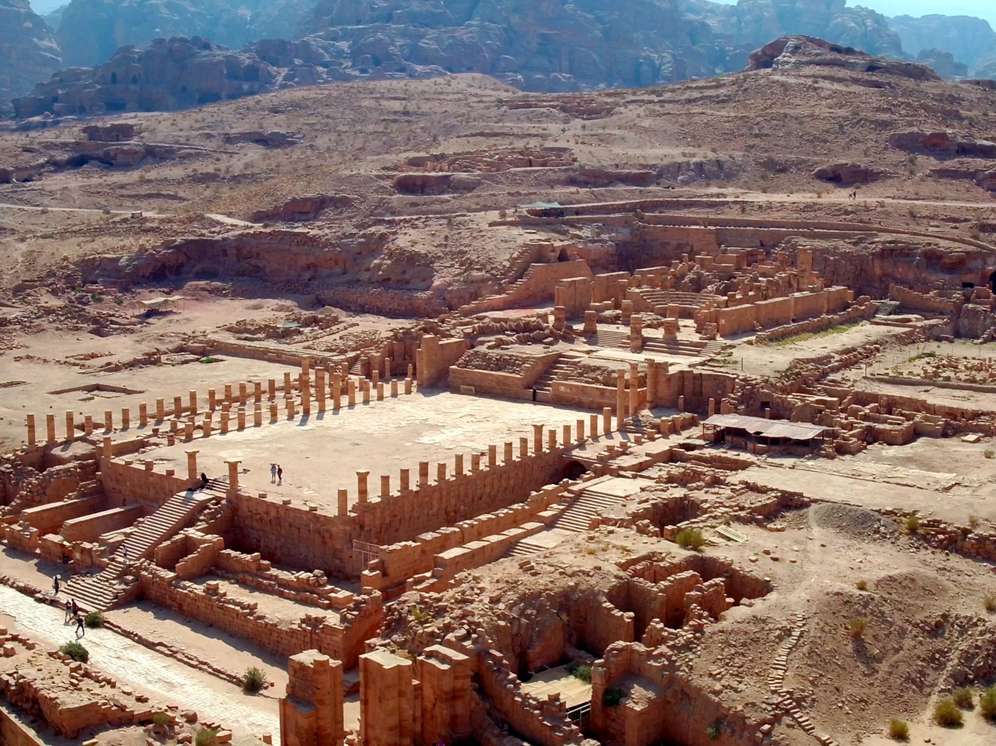 An aerial view of the ruins of the Great Temple in the ancient city of Petra. This image is from... [Photo of the day - سپتامبر 2019]