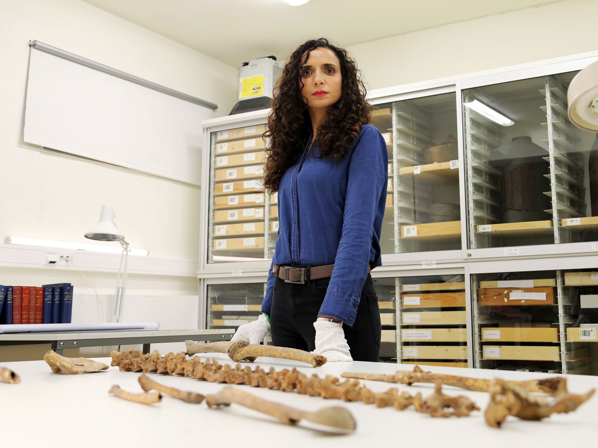 Ella at Swedish History Museum, Stockholm, examining Viking bones. This image is from Viking... [Photo of the day - October 2019]