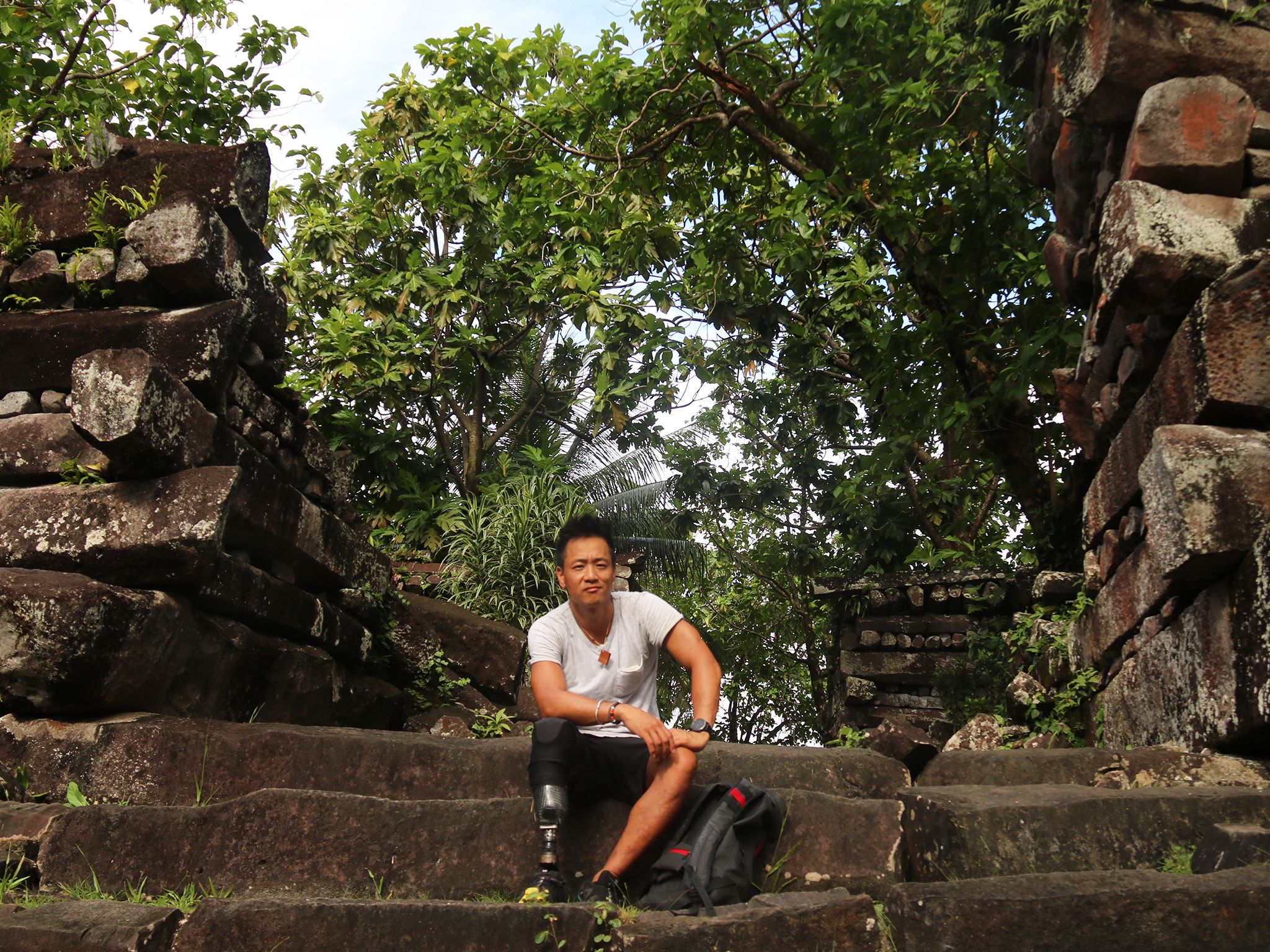Dr. Albert Lin at the ruins of the ancient city of Nan Madol, Micronesia. This image is from... [Photo of the day - October 2019]