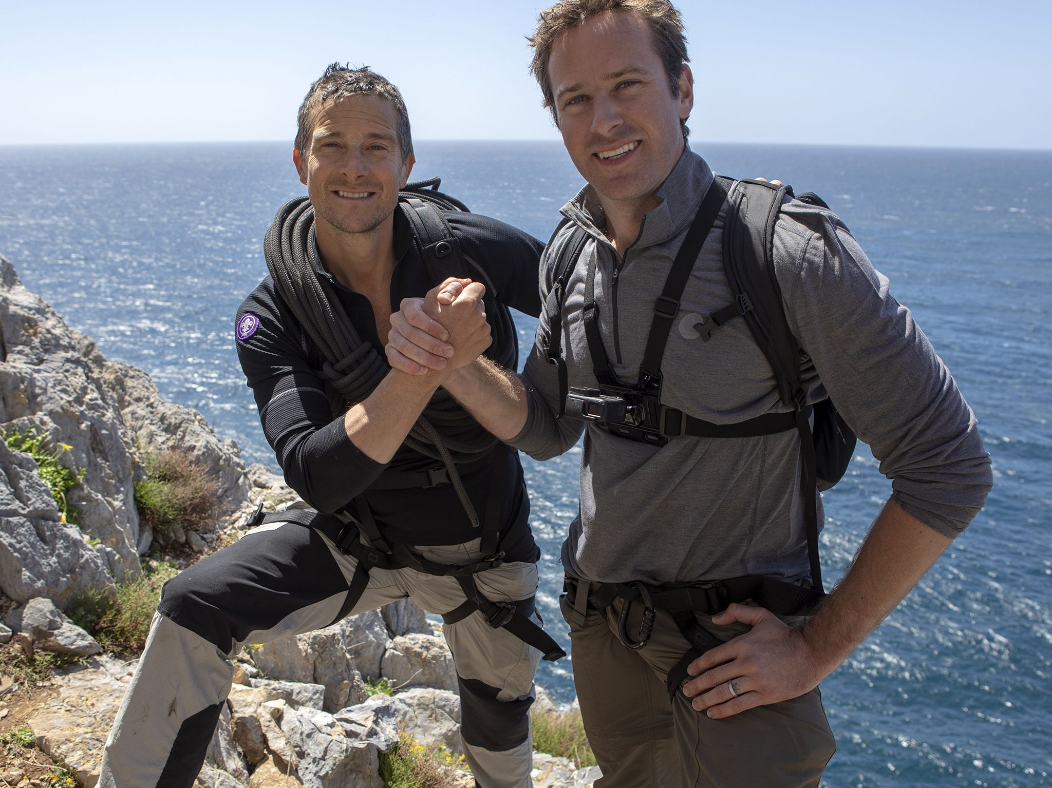 Sardinia, Italy: (L to R) Bear Grylls and Armie Hammer. This image is from Running Wild with... [Photo of the day - نوامبر 2019]