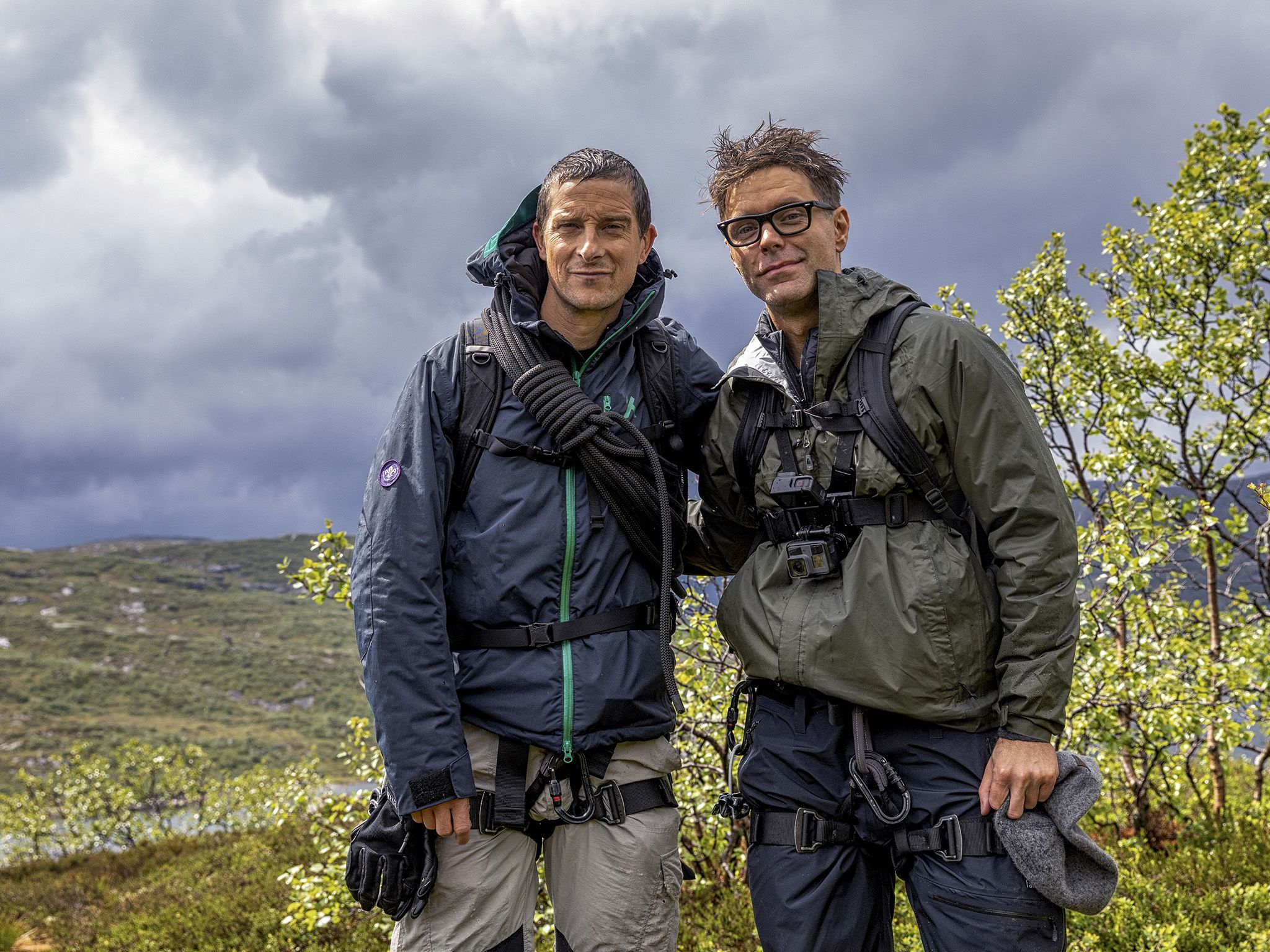 Månafossen, Norway: (L to R) Bear Grylls and Bobby Bones. This image is from Running Wild with... [Photo of the day - نوامبر 2019]