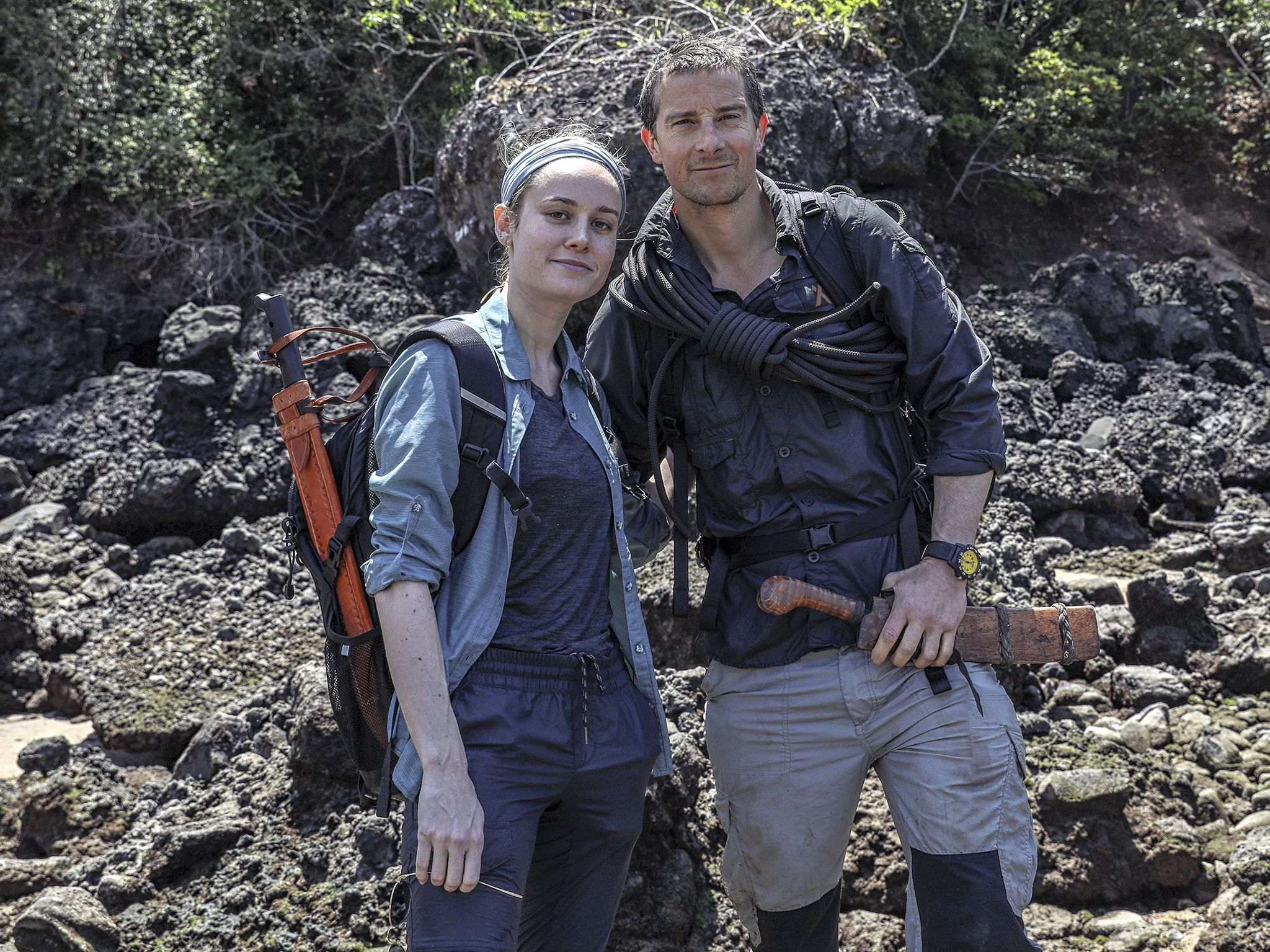 Panama: (L to R) Brie Larson and Bear Grylls on the shore of a remote Pearl Island in Panama.... [Photo of the day - November 2019]