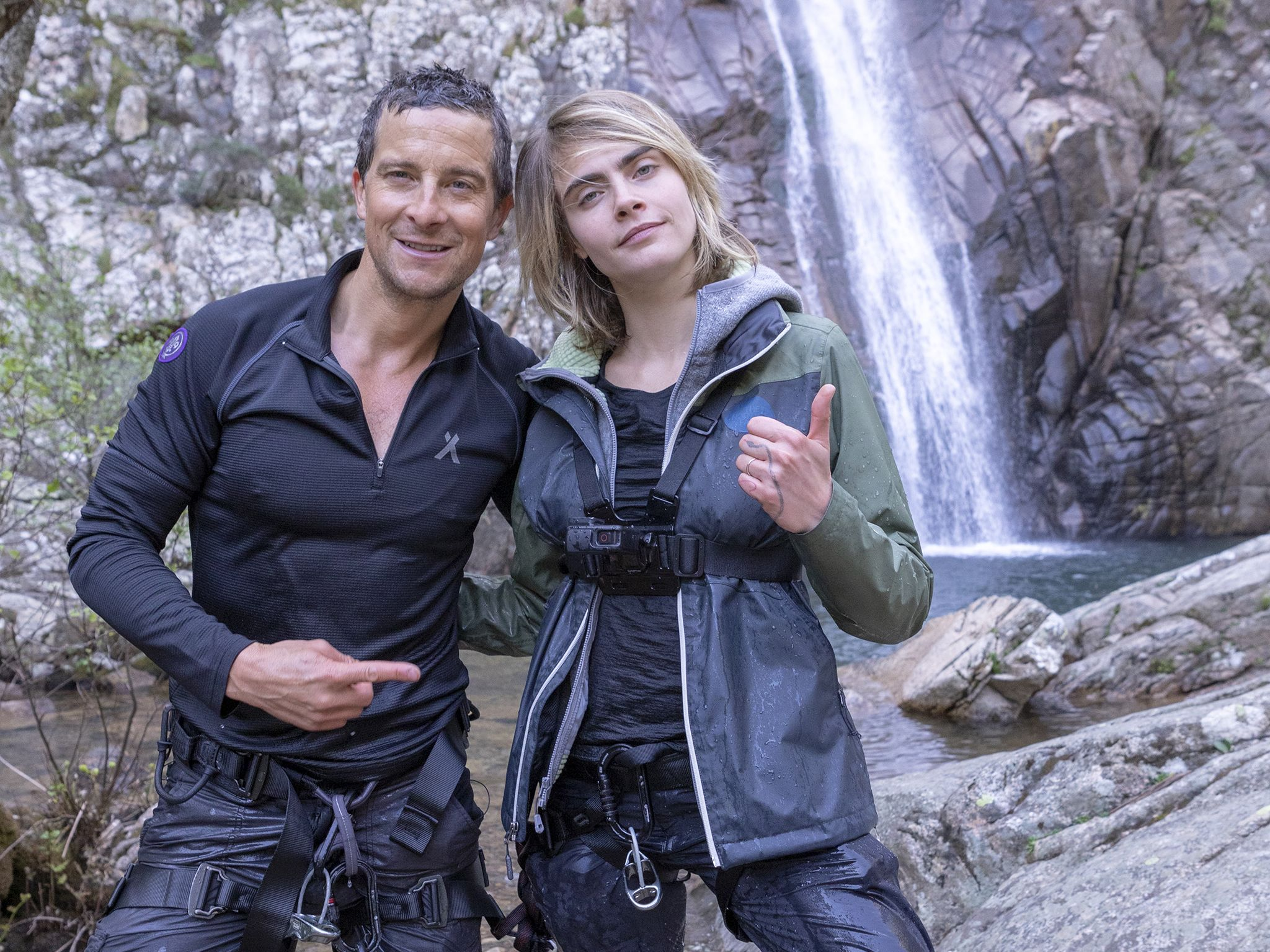 Sardinia, Italy: (L to R) Bear Grylls and Cara Delevingne about to be extracted.  This image is... [Photo of the day - نوامبر 2019]