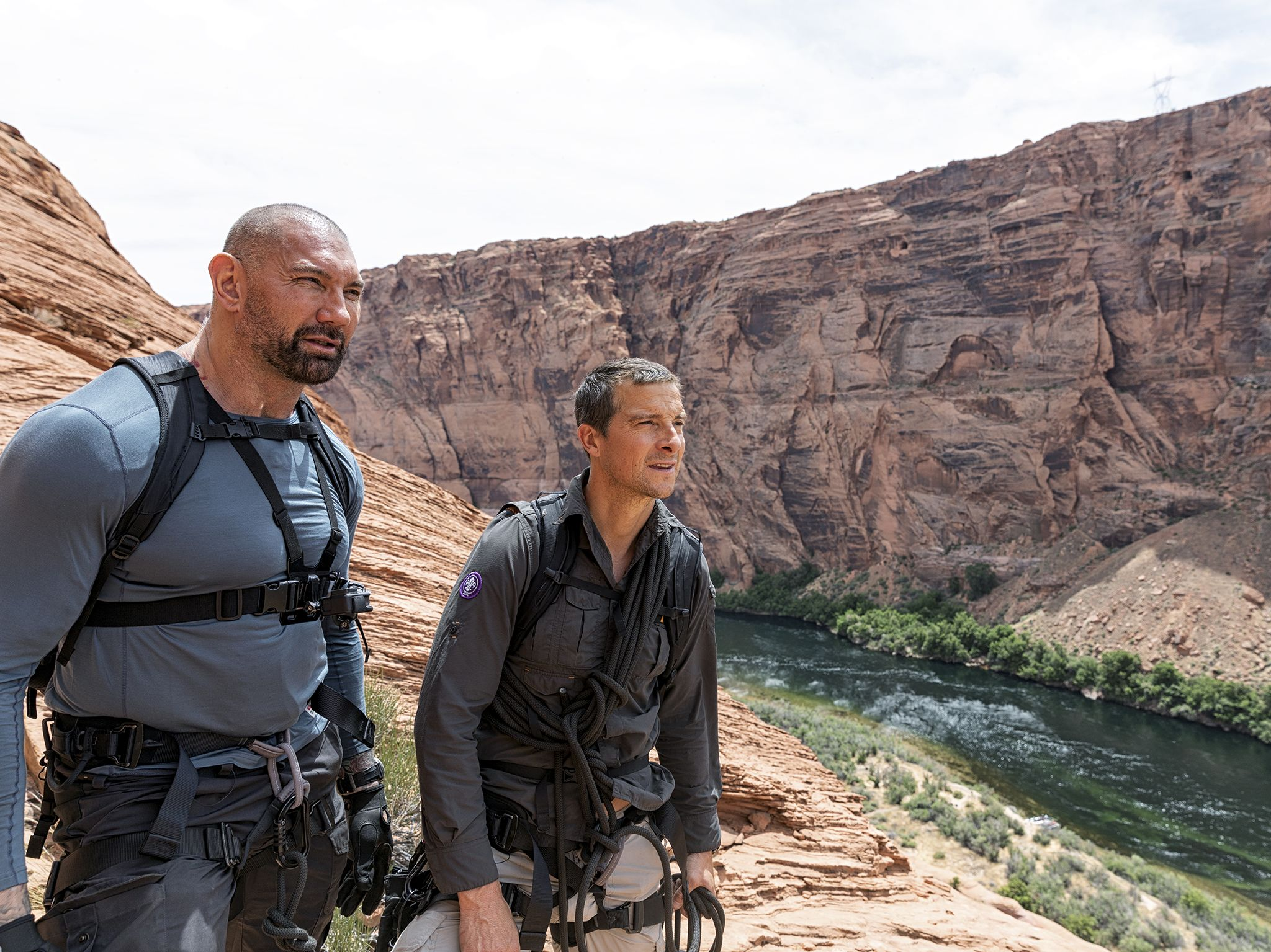 Horseshoe Bend, Ariz.:  (L to R) Dave Bautista and Bear Grylls survey the Colorado River.  This... [Photo of the day - November 2019]