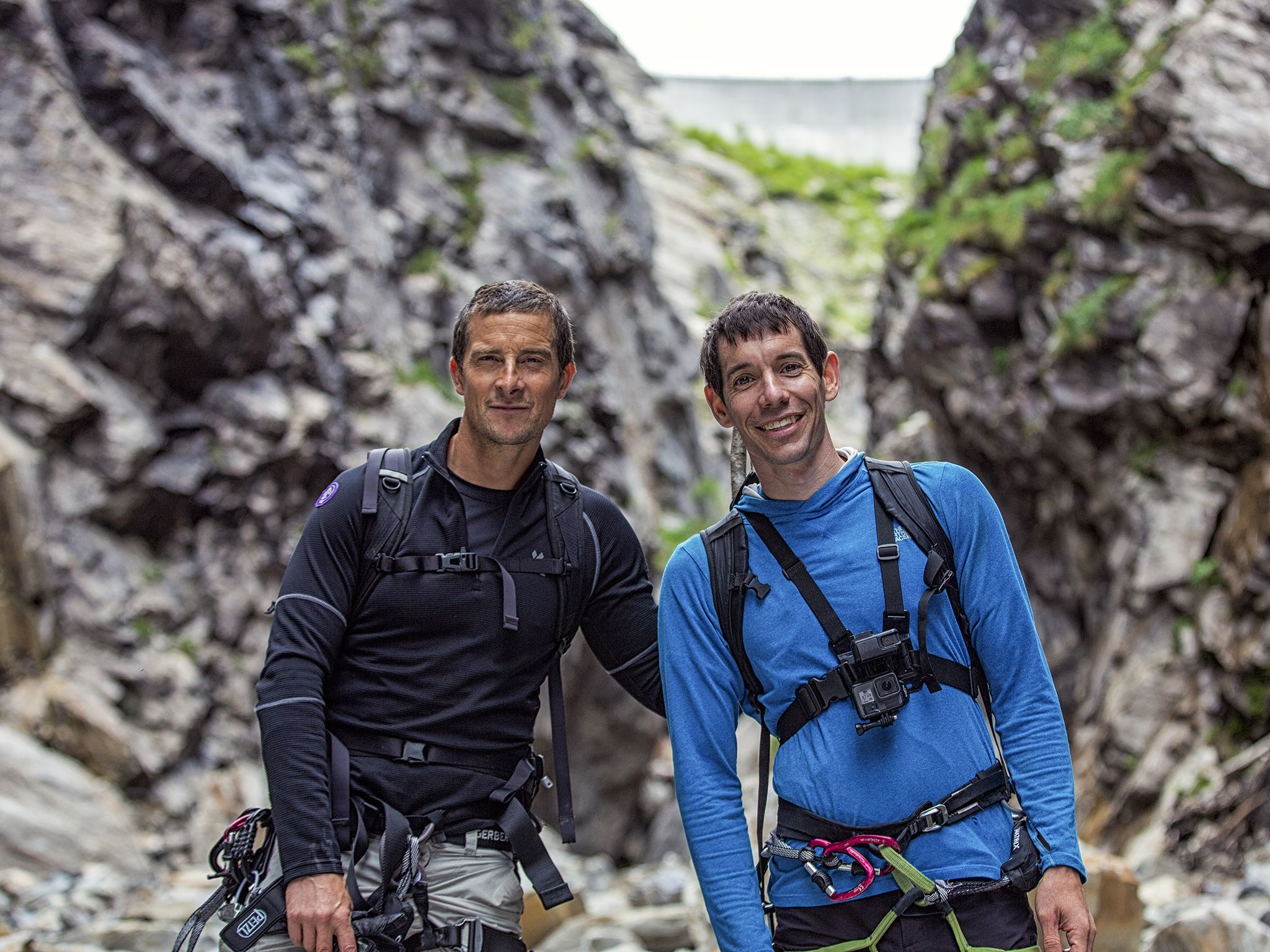 (L to R): Bear Grylls and Alex Honnold during production of National Geographic's Running Wild... [Photo of the day - نوامبر 2019]