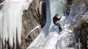 Hazen Audel abseils down an ice... [Photo of the day - 21 نوامبر 2019]