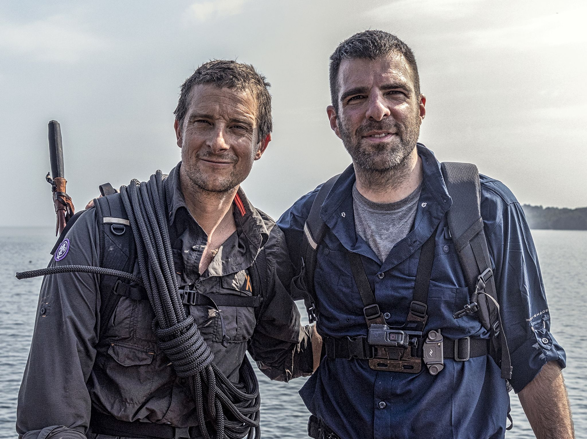 Panama:  (L to R) Bear Grylls and Zachary Quinto at the end of their journey in Panama. This... [Photo of the day - November 2019]