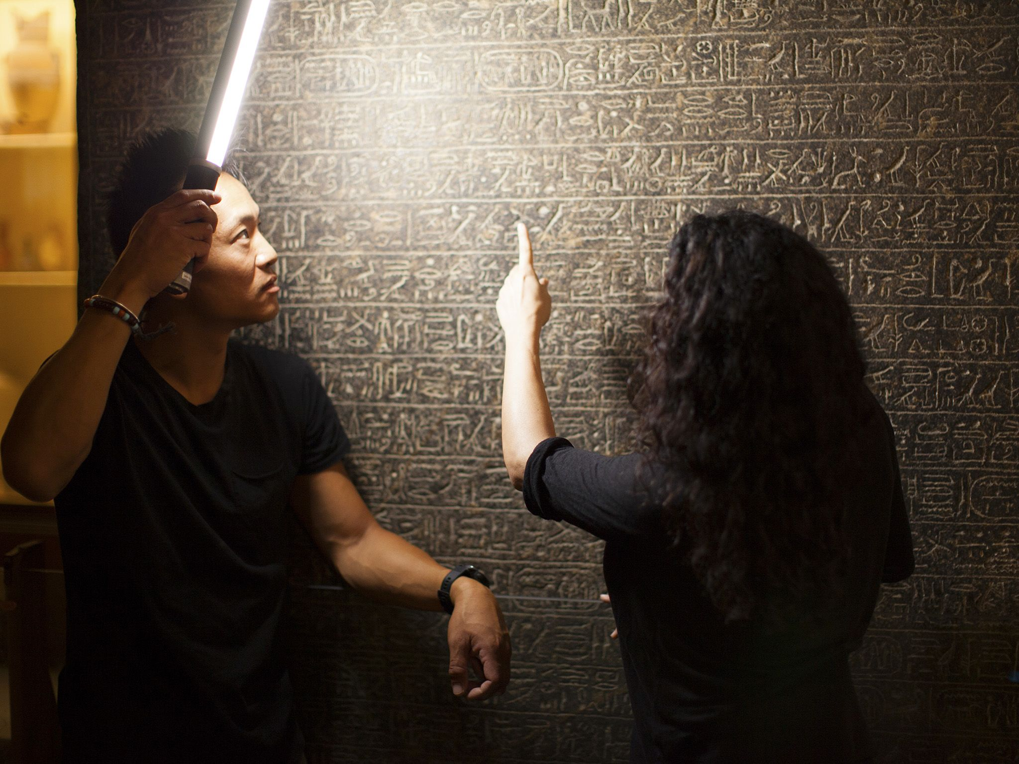Cairo, Egypt: (Left to right) Albert Lin and Dr Meredith Brand inspect the Merneptah Stele at... [Photo of the day - December 2019]