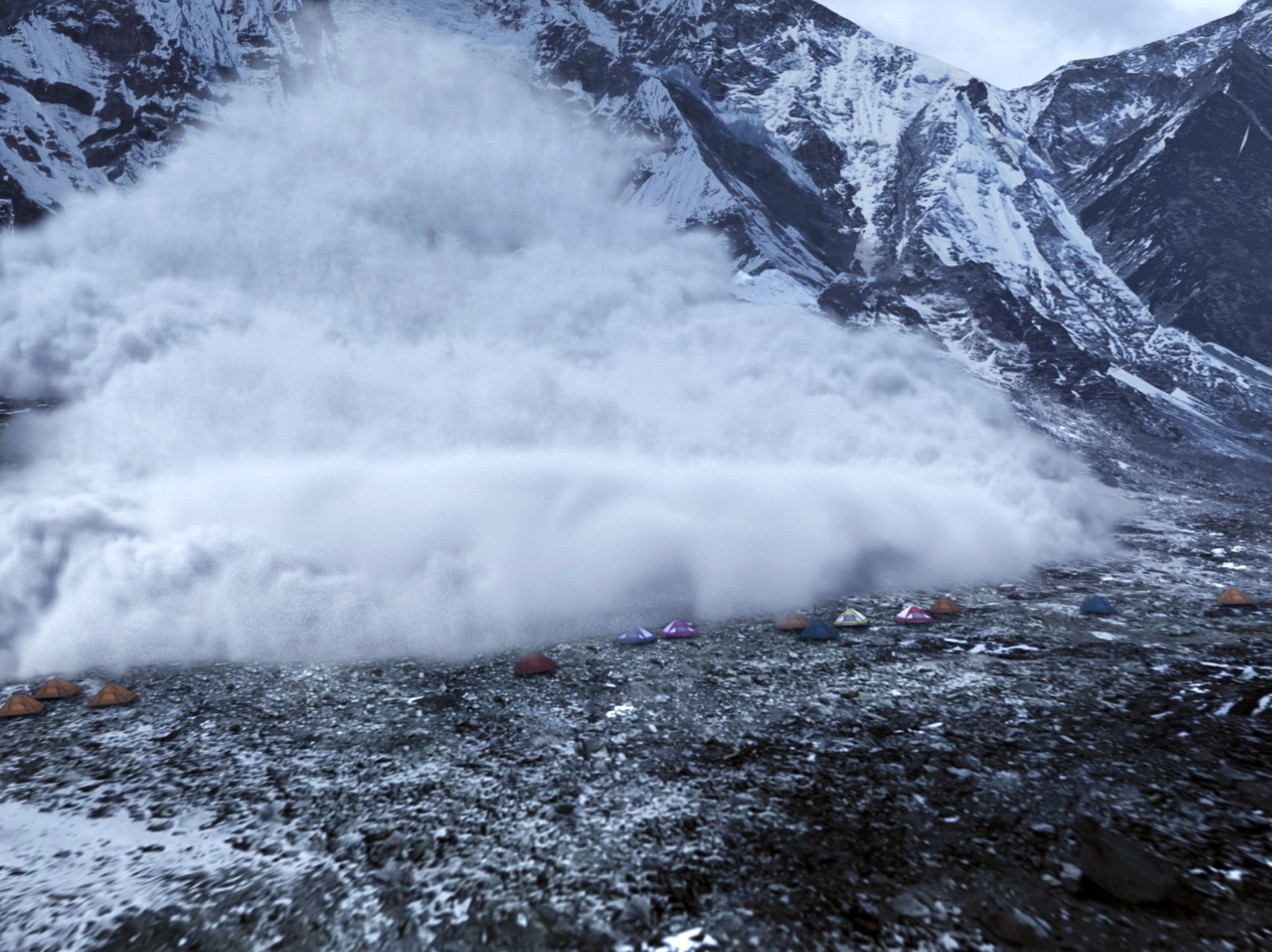 Avalanche on Everest hitting Base Camp.  This image is from Witness to Disaster. [Photo of the day - December 2019]