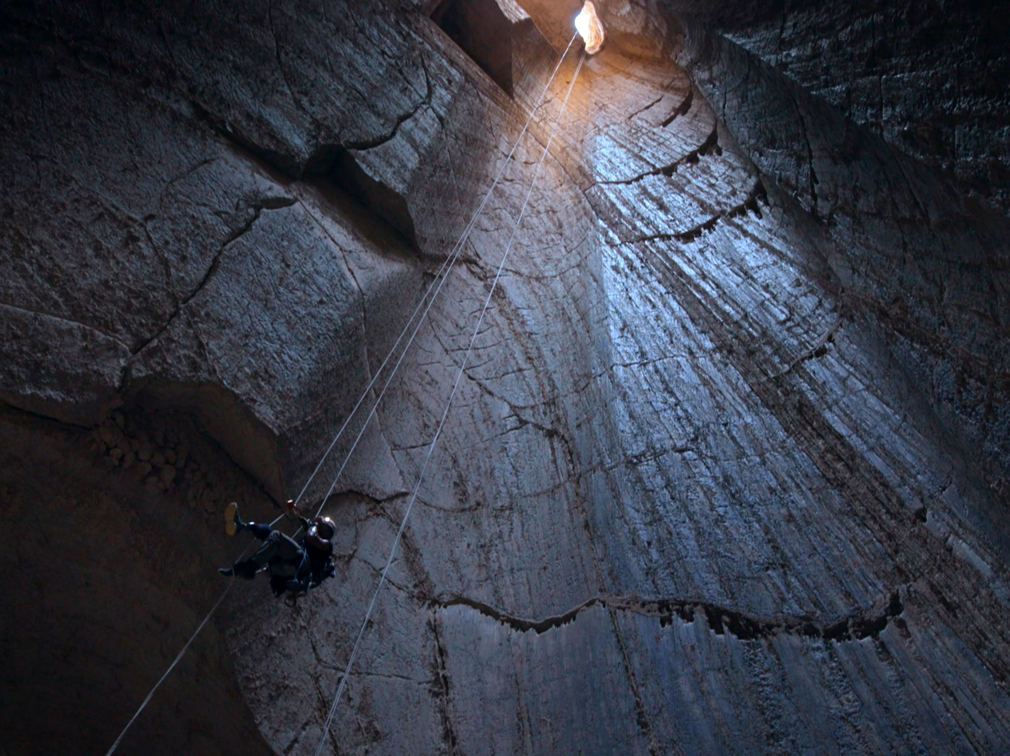 Israel:  Albert Lin abseiling into Salt Cave.  This image is from Buried Secrets of The Bible... [Photo of the day - December 2019]