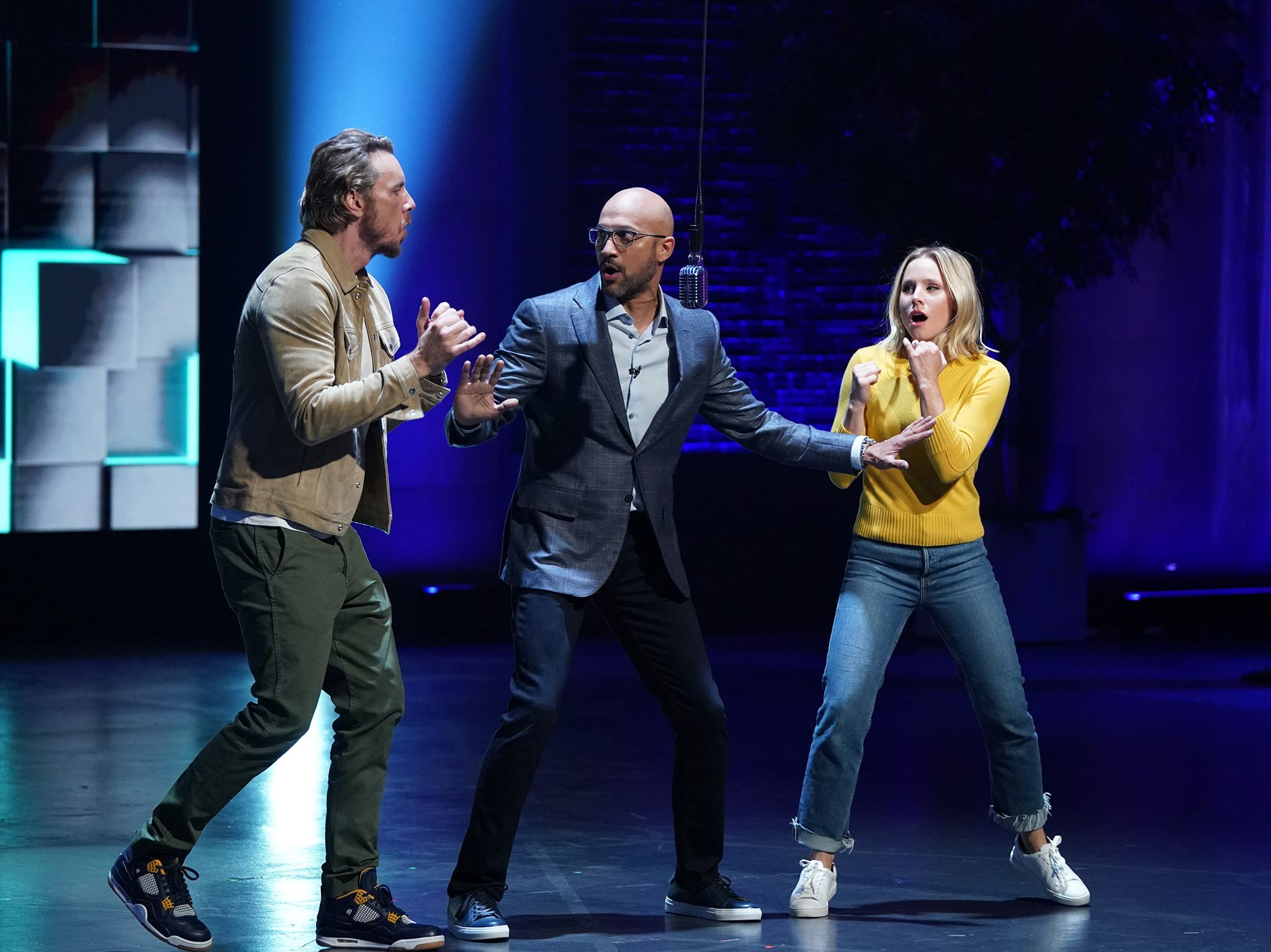 Guests Kristen Bell and Dax Shepard on the set of Brain Games with host Keegan-Michael Key. ... [Photo of the day - January 2020]