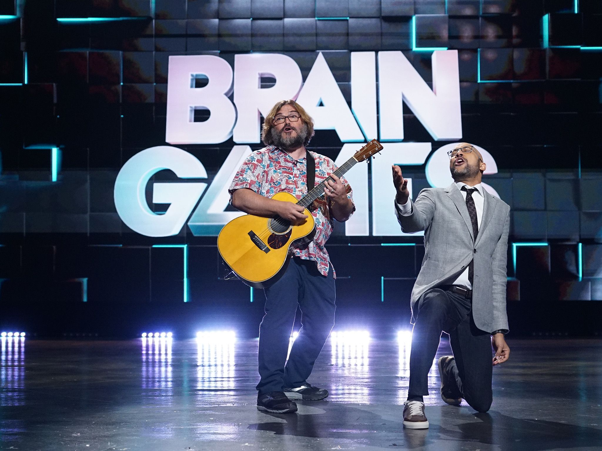 Host Keegan-Michael Key, right, with Actor-Musician Jack Black during the music episode of Brain... [Photo of the day - January 2020]